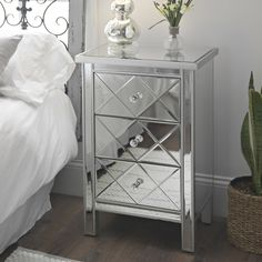 Our Diamond Mirrored Chest has elegance that can makeover a space! With a mirrored overlay, this chest has a glamorous allure that updates a room. Classic Home Furniture, Simple Furniture, Affordable Furniture, Affordable Home Decor, Furniture Sale, Discount Furniture, Cheap Furniture, Mirrored Bedroom Furniture, Wardrobe Furniture