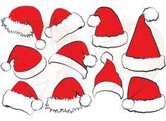 10 Santa Claus Hat Clip Art Christmas Santa Hat Clipart Xmas Santas Hat Red Santa Costume Scrapbook Supplies DIY cards label tag 10391. $5.00, via Etsy.