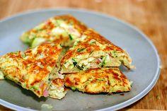 zucchini, ham and ricotta fritters