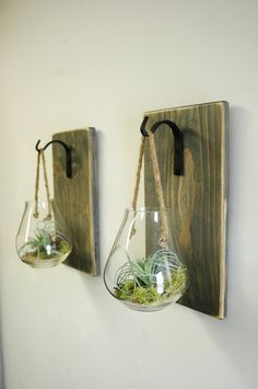 Hanging terrarium, glass wall decor, hanging plant holder, kitchen wall, shabby chic, glass globe, planter, herb planter, rope hanger