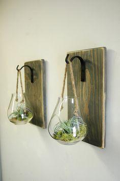 Hanging terrarium, glass wall decor, hanging plant holder, kitchen wall, shabby chic, glass globe, planter, herb planter, rope hanger