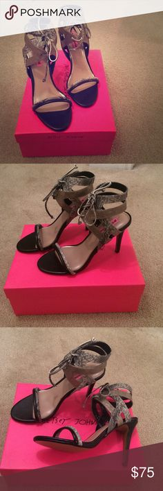 NWT Betsey Johnson Gege Sandal Heel NWT Betsey Johnson Gege Sandal Heels. Gorgeous metallic and python print strappy Heels that have never been worn. Betsey Johnson Shoes Heels