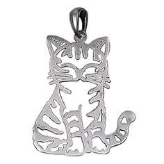 CUTE-CAT-SILHOUETTE-genuine-925-sterling-silver-pendant