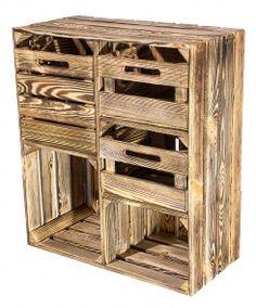 Geflammter Hochschrank 3 Schubladen 77x68x35cm Obstkisten Holzkisten Mobel Aus Weinkisten
