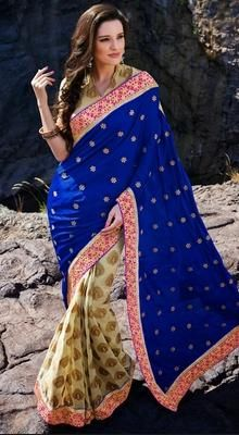 Blue/Cream Satin and Georgette Half N Half Saree #Sarees-Clothing #SareesShop-Online