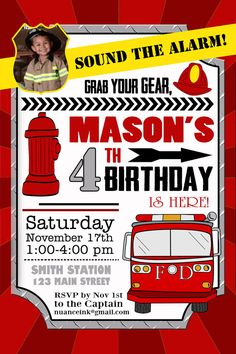 Fireman Firefighter Birthday Party Personalized by NuanceInk, $15.00                                                                                                                                                                                 Más