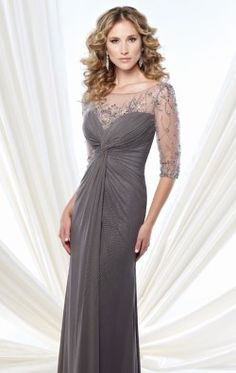 26b7fcc3cbe Embellished Knotted Ruched Gown by Mon Cheri Montage