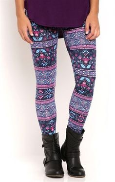 Deb Shops Floral Stripe Tile Print Leggings $10.00