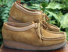 CLARKS-ORIGINAL-WALLABEE-Tan-Brown-SUEDE-LEATHER-Vintage-Loafer-WOMEN-6-5