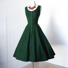 1950's TABAK of California green wool cocktail dress
