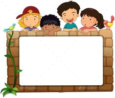 Buy Kids with and Bird and Whiteboard by interactimages on GraphicRiver. Illustration of a white board, kids and birds on a white background Art Drawings For Kids, Drawing For Kids, Art For Kids, Graduation Crafts, Birthday Bulletin Boards, Owl Theme Classroom, Boarder Designs, School Frame, School Murals