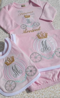 Custom, Initial Monogram, Machine Embroidered, Applique 3 Piece Infant Gown, Bib and Burp Cloth by KhloeJeanEmbroidery on Etsy https://www.etsy.com/listing/210872274/custom-initial-monogram-machine