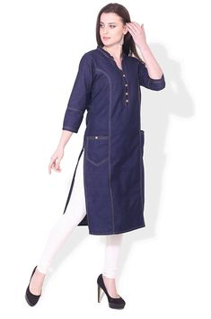 BLUEPOCKET Denim Kurti / Kurta for women with Pockets(Dark Blue): Amazon.in: Clothing & Accessories