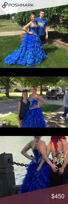 Prom dress Size 12 with an adjustable corset. Two shades of blue and beading on the top. It comes as a two piece but has the look of a full dress. (Can Venmo me and I will ship it on my own to avoid posh mark shipping cost) WILL NEGOTIATE COST!!! Dresses Prom