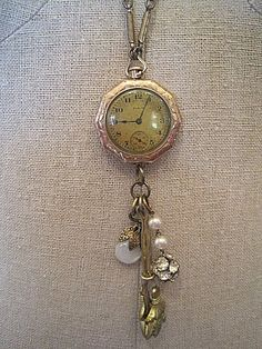 Handcrafted Found Object Jewelry, vintage watch, necklace