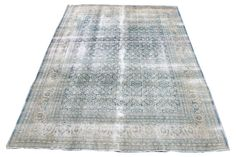 "Antique Tabriz Blue and Beige Wool Rug Dimensions: 9' x 12'5""  Hand Made in Iran *All Vintage Rugs are in Great Condition*"
