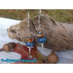 Land & Sea Baded Earrings Dangle Lampwork Bead Earrings Boho | C ~ Breeze Treasures