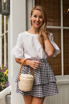navy gingham skirt | how to style a gingham skirt | how to wear a gingham skirt | summer fashion | summer style | fashion for summer | style ideas for summer | warm weather fashion | fashion tips for summer || a lonestar state of southern