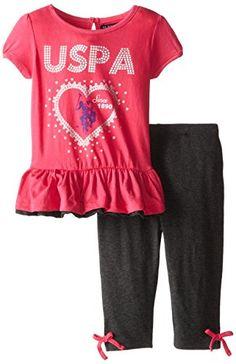 U.S. POLO ASSN. Little Girls' Short Sleeve Peplum Top and Capri Length Leggings
