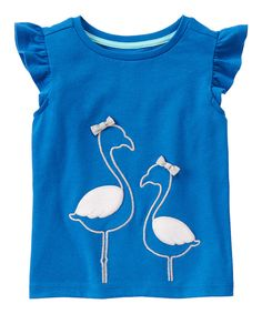 Look at this Ocean Blue Flamingo Tee - Girls on #zulily today!