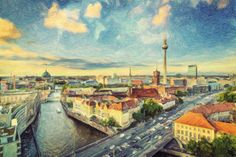 berlin, germany, painting, impasto, oil on canvas, city, skyline, buildings, architecture, landmark, cityscape, downtown, urban, view, scene, scenery, travel, destination, tourist attraction, spree river, spree, river, fernsehturm, towers, tower, television tower, tv,  tower, europe, european, german, germany, road, street, alexanderplatz, berlin dom, dom, berlin,  cathedral, historic, historical, district, mitte, 2013, boat, canal, stream, day, berlin, dusk, afternoon, home decor, office…