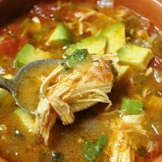 Comfort Foods' Chicken Tortilla-less Soup Recipe - Paleo Comfort Foods' Chicken Tortilla-less Soup, maybe add some beans.is that qualify as Paleo?Paleo Comfort Foods' Chicken Tortilla-less Soup, maybe add some beans.is that qualify as Paleo? Paleo Recipes, Soup Recipes, Chicken Recipes, Chicken Soups, Roasted Chicken, Recipe Chicken, Healthy Chicken Tortilla Soup, Avocado Chicken, Budget Recipes
