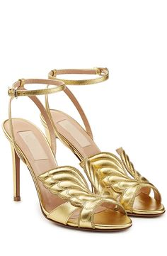 MILANO RUNWAY FASHION BUTTERFLY DESIGN HIGH HEELS 112 GOLD PURE RED  US$129.00