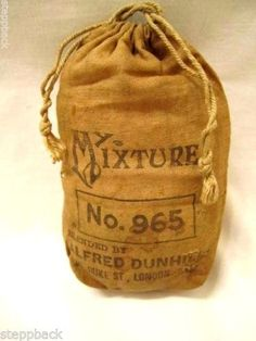 Early-1900s-RARE-Alfred-Dunhill-No-965-MY-MIXTURE-Advertising-Pipe-Tobacco-Bag