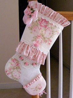 11/08/14 Update ~~~ SOLD ~~~ Shabby Pink Roses Barkcloth Vintage Crochet Lace Cottage Chic Christmas Stocking 9 in. wide (top opening) x 23 1/2 in. long (hanging) $40.00 plus $6.50 priority shipping.  Handmade from a reproduction textured barkcloth with the sweetest faded pink roses floating on an eggshell white ground.