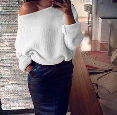 Off Shoulder Cross Grain Pure Color Sweater
