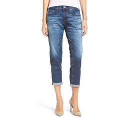 Women's Ag 'Ex-Boyfriend' Crop Slim Jeans ($225) ❤ liked on Polyvore featuring jeans, boyfriend cropped jeans, cropped jeans, white slim jeans, slim jeans and blue wash jeans