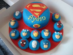 Superhero Squad cake and cupcakes by Angelina Cupcake, via Flickr