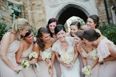 blush and white wedding with white bouquets