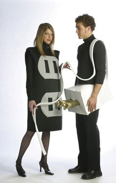 For a daring couple. Light up your party with this humorous costume. Poly foam socket tunic, and plug waist band. Includes two costumes for the price of one. Fits most adult sizes. Men XXL and Women 1