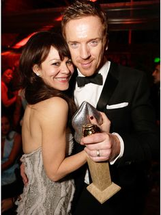 "Damian Lewis celebrated his Best Actor in a TV Drama win with his wife, fellow actress Helen McCrory, by allegedly grooving to Psy's ""Gangnam Style"" in the middle of the party's dance floor."