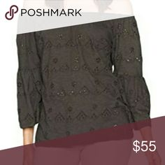 [Lucky Brand] Off the shoulder eyelet Top M Lucky Brans off the shoulder top Size Medium New with tags  [Images from product website] Lucky Brand Tops