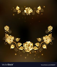 Symmetrical Garland of Gold Roses Royalty Free Vector Image Peacock Vector, Feather Vector, Star Background, Bright Background, Jewelry Banner, Angel Vector, Wedding Logo Design, Page Decoration, Paint Vector