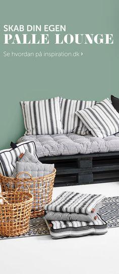 Skab din helt egen palle lounge. Se på inspiration.dk hvordan. Samt få meget mere inspiration til udendørs indretning. #inspirationdk #juna #outdoor #newurbanstripe #living #inspirationonline #pallelounge #LeneBjerre