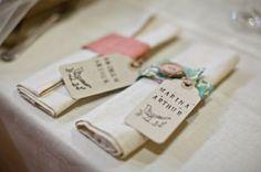 Leinen Stoff Tischdecke und Servietten mit Namensschilder