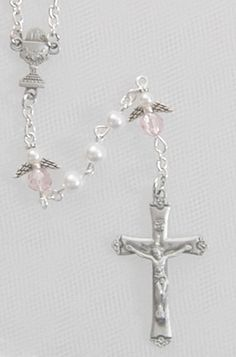 White Pearl Angel Rosary w/ Pewter Crucifix & Center