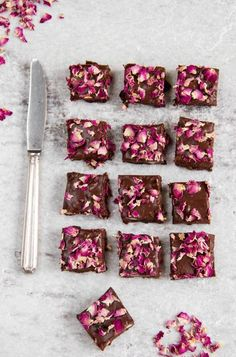 These pretty-in-pink fudge squares take the whole edible flowers and chocolate combo to a whole new level.