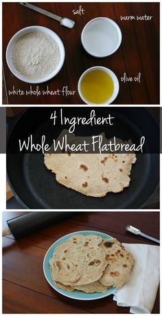 This 4 ingredient whole wheat flat bread recipe is SO easy! It's vegan, yeast-free and is full of protein and fiber! Try this flat bread recipe asap!