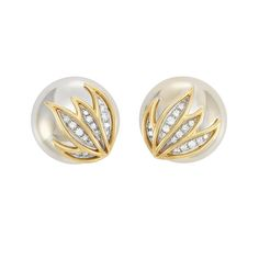 ]Pair of Two-Color Gold and Diamond Earclips, by Marvin Schluger