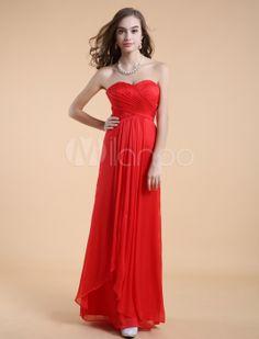 Red tube top floor length bridesmaid dress