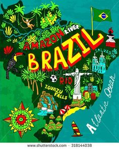 Illustrated map of Brazil - stock vector