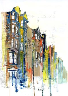 Traditional Edinburgh City Illustration Buildings by RowanLeckie, £14