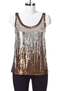 Polyester U necked top with all over sequin work.