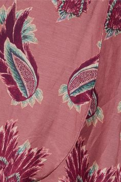 Vix - Birds June Printed Cotton And Silk-blend Wrap Skirt - Plum -