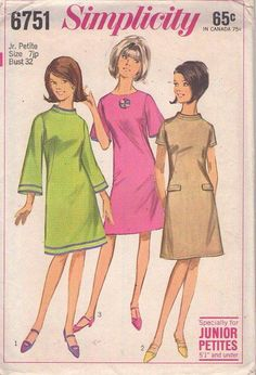 MOMSPatterns Vintage Sewing Patterns - Simplicity 6751 Vintage 60's Sewing Pattern COOL Mod Space Age Bell Sleeve Fit & Flared Dart Fitted Twiggy Dress, 3 Styles Size 7JP