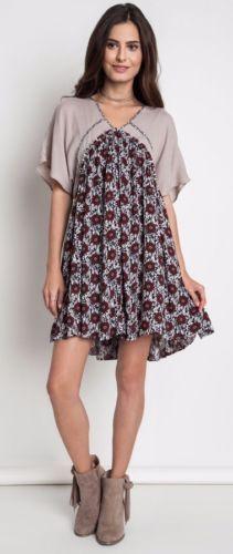 Umgee-Angel-Sleeve-Day-Dress-Bohemian-Boho-Print-Shift-Gypsy-Latte-A1512 #Unique_Boho_Style